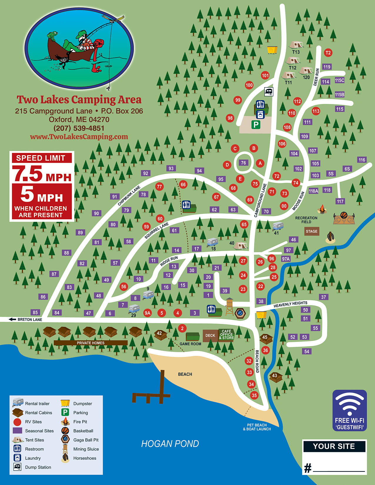 Two Lakes Camping Area Site Map